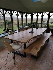 Solid Wood OAK/ASH dining table bench  Live Edge Rustic MADE TO ORDER