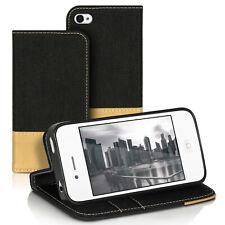 Funda para iphone 4, iphone 4s piel sintética Denim cierre magnético back bumper cover