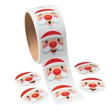 SANTA CLAUS Stickers Christmas Holiday Xmas Gift Wrap 1 ROLL (100 Stickers)