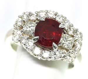 GIA Pigeon Blood Red Ruby and Diamond 2.62 tcw Ring 18k white Gold size 6
