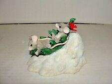 Vintage Charming Tails Winter Snow Figurine Flying Leaf Saucer Silvestri Mice