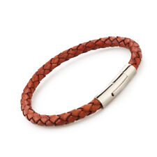 Genuine Leather Braided Stainless Steel Magnetic Clasp Bracelet Unisex Red