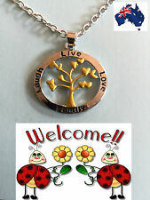BN 2017 SILVER N GOLD PLATED LIVE,LAUGH,LOVE,FAMILY TREE OF LIFE NECKLACE 192W