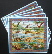 5 x Gambia 1995 Mi. 2014-25 KB ** MNH Dinosaurier Dinosaur Prähistoric Animals