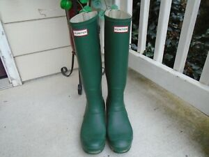 Hunter Boots - Women's Original Play Tall Rain Boots - Green Size 10