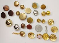 Lot 24+ Vintage Metal Buttons; Brassy Colors, Mixed Styles Some Military, Relief