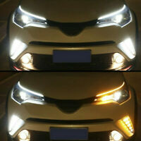 2x 60cm Slim Sequential Flexible LED Amber DRL Turn Signal Strip Light Headlight