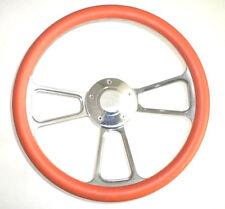 "Kubota, Tomberlin Golf Cart 14"" Orange Steering Wheel Includes Horn & Adapter"