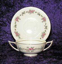 MINTON S-707 MELBURY GOLD DOUBLE HANDLED CREAM SOUP CUP BOWL W/ SAUCER PINK ROSE