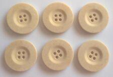 6 x 25mm Large Cream Round Plastic Buttons - C302