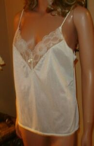 Vtg Private Treasures by Avon Off White Nylon Lace Camisole/Lingerie M 12-14 36