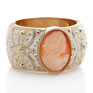HSN Amedeo Nyc 40mm Cameo & White Enamel Bangle Bracelet SOLD OUT