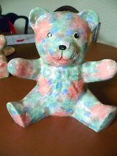 PARK ROSE CERAMIC TORQUOISE & PINK TEDDY BEAR FIGURINE BRIDLINGTON POTTERY