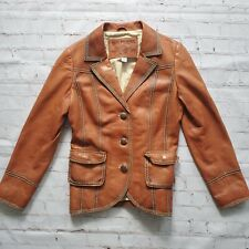 TRUE RELIGION WOMENS LEATHER Jacket Coat Blazer Womens 12 Camel Brown