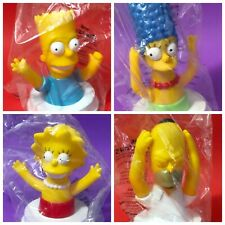 The Simpsons set of 4 cup toppers 1998 Pizza Hut - Homer Marge Lisa Bart SEALED