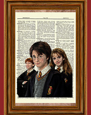 Harry Potter Dictionary Art Print Picture Poster Harry Hermione Ron Emma Daniel
