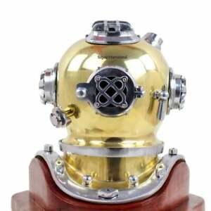 "Boston Antique Shiny Diving helmet ~ Mark V Vintage Divers Scuba Helmet Size 10"""