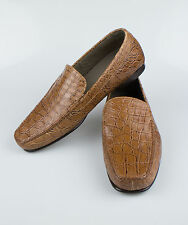 New BRIONI Brown Crocodile Leather Casual Loafers Shoes Size 10/43