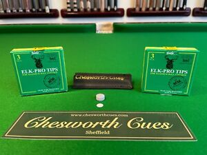 ELK-PRO Snooker & Pool Cue Tips inc- Free Tip Protector Chesworth Cues Sheffield
