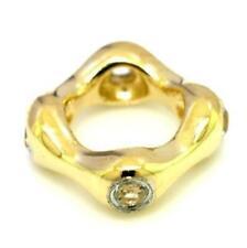 TRELO Diamond 9ct 375 Solid Gold Bead Charm Fit Euro Bracelets 30 Day Refund