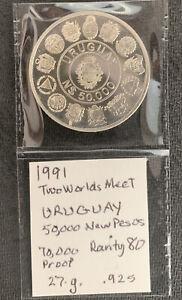 1991 Uruguay 50000 Nuevos Pesos 2 worlds meet /27 gr .925 Silver & *No Reserve!