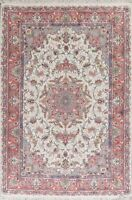 7'x10' Medallion Hand-Knotted Floral Kashmar Ivory Area Rug Traditional Carpet