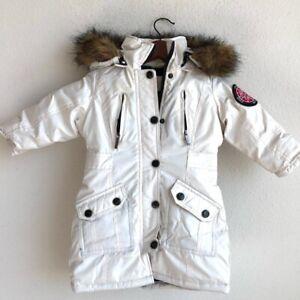 COOGI Kids Baby Girls Parka Coat Jacket White Faux Fur Hooded Pockets Snap 2T