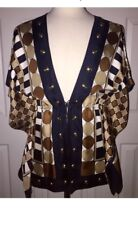 NEW! MICHAEL Michael Kors 100% SLIK Tie Waist Geometric Tunic Blouse Top Sz S/M