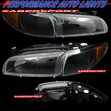 Set of Euro Black Headlights with Corner Lights for 1997-2003 Pontiac Grand Prix