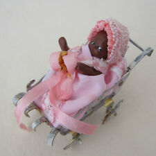 Dollhouse ARTISAN BABY DOLL CARRIAGE Bisque Black African American Handmade OOAK