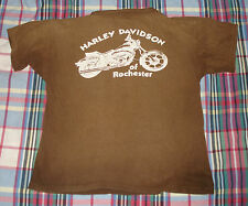 RaRe *1970s HARLEY DAVIDSON* vintage brown motorcycle biker t-shirt (L) New York