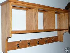 Solid Oak 32x16x8in 4 Hook Coat Rack Shelf