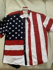 the westerns collection scully Mens Patriotic American flag Shirt Used Size LRG