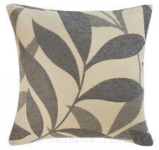 Grey & Cream Leaf Design Chenille 18 inch Cushion Cover