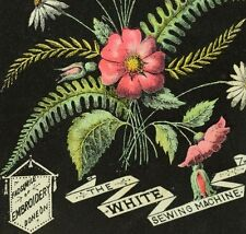 1870's White Sewing Machine, Facsimile Embroidery Chicago Salesroom Card F79