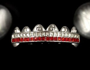 Platinum/Silver Style White Gold IP Top 6 Tooth Grillz iced Red Grill Bling out!