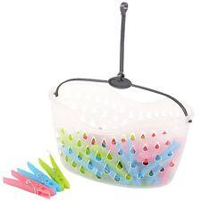 Línea de lavado de ropa interior al aire libre Colgar Ropa Clavijas con la cesta de plástico NUEVO