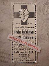 alte Werbung Reklame Anzeige Heilapparate Nervenbürste Elektrosan München 1913