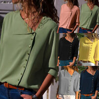 Hot Women Loose Lapel Neck T-shirt Ladies Long Sleeve Buckle Blouse Tunic Top