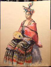 GRAND Dessin XXe Femme Mandoline Habits Traditionnels Traditional Clothing  Art