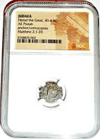 Roman Ruler Herod I The Great Coin,NGC Certified With Story,Certificate