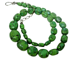 Green Turquoise Beaded NECKLACE 22 Inches Long Sterling Silver Clasp