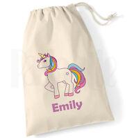 Personalised Childrens Girls Unicorn Drawstring Cotton Canvas Pump PE Bag