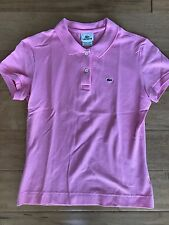 Lacoste Alligator Ladies Fitted Pink Pique Polo Shirt Size 42 (fits 4/6)