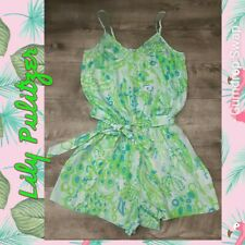 Lilly Pulitzer Women's size S Pool Blue Any Fins Possible Deanna Shorts Romper