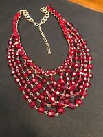 """Vintage Bright Red  Faceted Glass Crystal  Multi Strand Statement  Necklace 16""""+"""