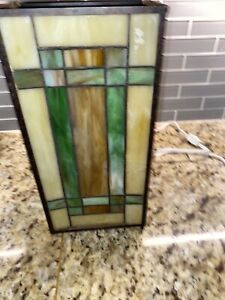 """Vintage Arts Craft Stained Glass Sconce Light 12.75"""" Tall 6.25"""" Wide And 4 Deep."""