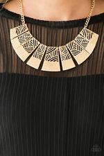 """Jungle Cat Jam"" Gold Necklace Set By Paparazzi"