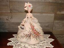 "Vintage Josef Originals Large 10"" Colonial Lady Louise Figurine White Dress Fan"