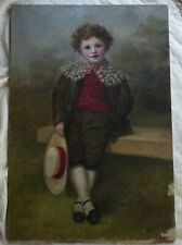 Antique English Victorian Edwardian Oil Painting of a Young Boy portrait
